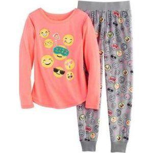 SO Emojis Fleece Pajama Top & Pants Set Size S 7/8